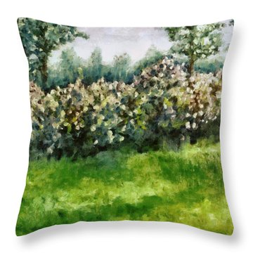 Lilac Bushes In Springtime Throw Pillow by Michelle Calkins