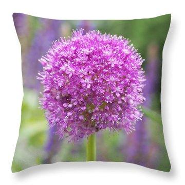 Lilac-pink Allium Throw Pillow by Rona Black