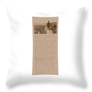 Lincoln And The Gettysburg Address Throw Pillow by War Is Hell Store