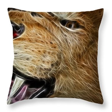 Lion Fractal Throw Pillow by Shane Bechler