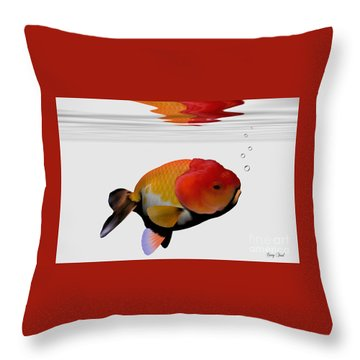 Lion-head Goldfish Throw Pillow by Corey Ford