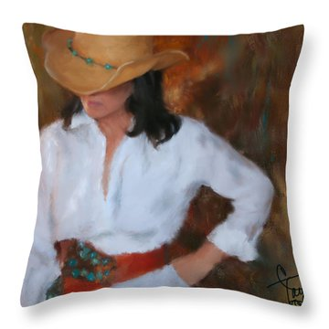 Liquid Turquoise Throw Pillow by Colleen Taylor