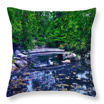 Little Bridge - Japanese Garden Throw Pillow by Bill Cannon