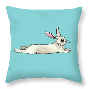 Little Bunny Rabbit Throw Pillow by Katrina Davis