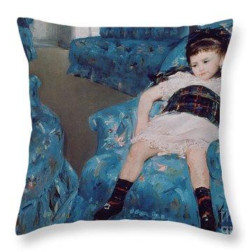 Little Girl In A Blue Armchair Throw Pillow by Mary Stevenson Cassatt