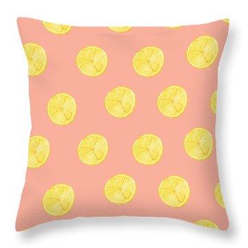 Little Lemons Throw Pillow by Allyson Johnson
