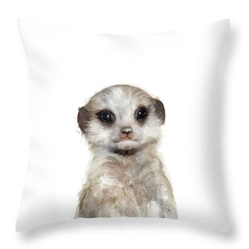 Little Meerkat Throw Pillow by Amy Hamilton