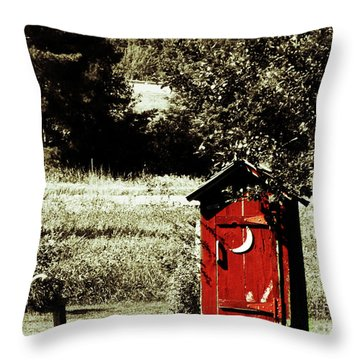 Little Red Outhouse Throw Pillow by Ms Judi