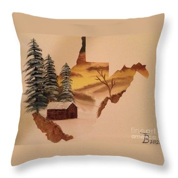 Little Wv Cabin Throw Pillow by Tim Blankenship