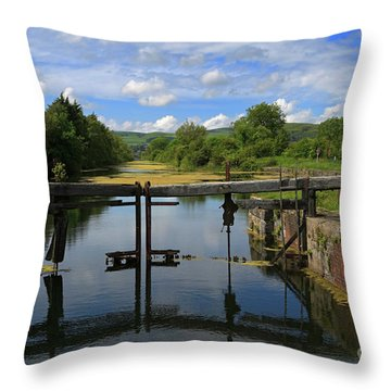 Lock Gates On The Old Canal Throw Pillow by Louise Heusinkveld