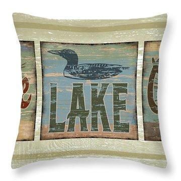 Lodge Lake Cabin Sign Throw Pillow by Joe Low