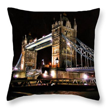 London Bridge At Night Throw Pillow by Dean Wittle