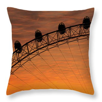 London Eye Sunset Throw Pillow by Martin Newman
