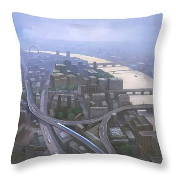 London, Looking West From The Shard Throw Pillow by Steve Mitchell