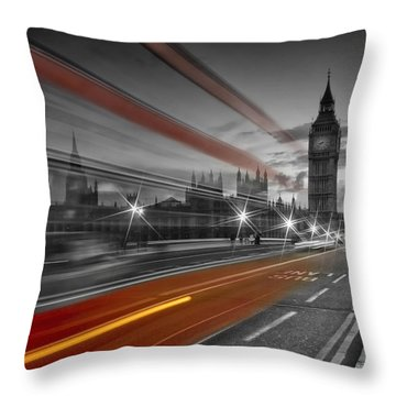 London Red Bus Throw Pillow by Melanie Viola