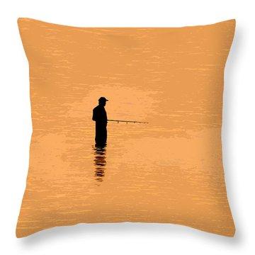Lone Fisherman Throw Pillow by David Lee Thompson