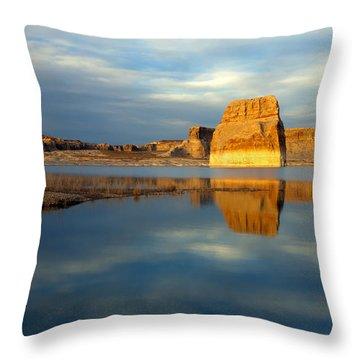 Lone Rock Glow Throw Pillow by Mike  Dawson