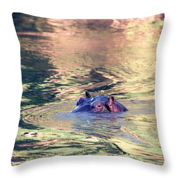 Lonely Hippo Throw Pillow by Sebastian Musial