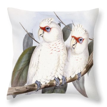 Long-billed Cockatoo Throw Pillow by John Gould
