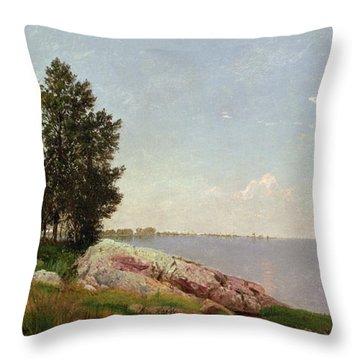 Long Island Sound At Darien Throw Pillow by John Frederick Kensett