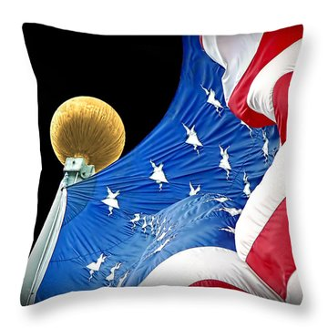 Long May She Wave The American Flag Throw Pillow by Jennie Marie Schell