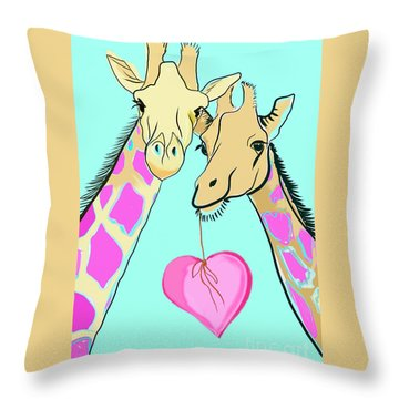 Long Neck Love Throw Pillow by Susie Cunningham