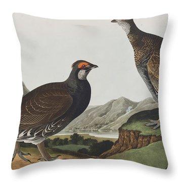 Long-tailed Or Dusky Grous Throw Pillow by John James Audubon