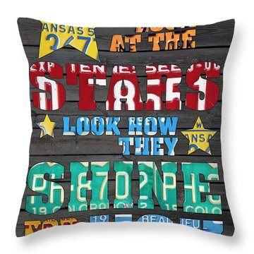 Look At The Stars Coldplay Yellow Inspired Typography Made Using Vintage Recycled License Plates Throw Pillow by Design Turnpike