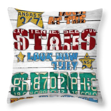 Look At The Stars Coldplay Yellow Inspired Typography Made Using Vintage Recycled License Plates V2 Throw Pillow by Design Turnpike