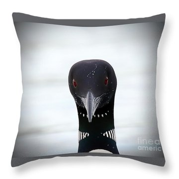 Loon Stare Throw Pillow by Peter Gray