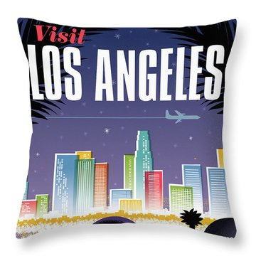 Los Angeles Retro Travel Poster Throw Pillow by Jim Zahniser