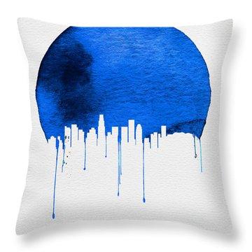 Los Angeles Skyline Blue Throw Pillow by Naxart Studio