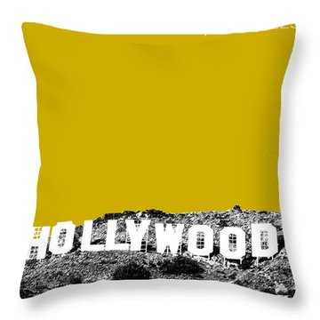 Los Angeles Skyline Hollywood - Gold Throw Pillow by DB Artist