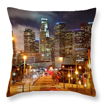 Los Angeles Skyline Night From The East Throw Pillow by Jon Holiday
