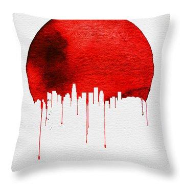 Los Angeles Skyline Red Throw Pillow by Naxart Studio