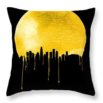 Los Angeles Skyline Yellow Throw Pillow by Naxart Studio