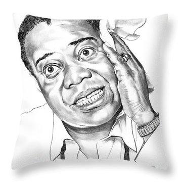 Louis Satchmo Armstrong Throw Pillow by Murphy Elliott