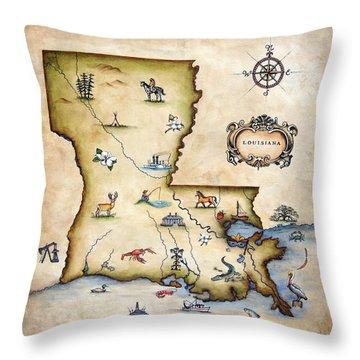 Louisiana Map Throw Pillow by Judy Merrell