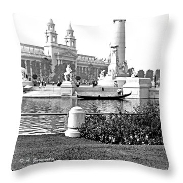 Throw Pillow featuring the photograph Louisiana Monument 1904 World's Fair by A Gurmankin