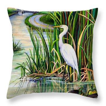 Louisiana Wetlands Throw Pillow by Elaine Hodges
