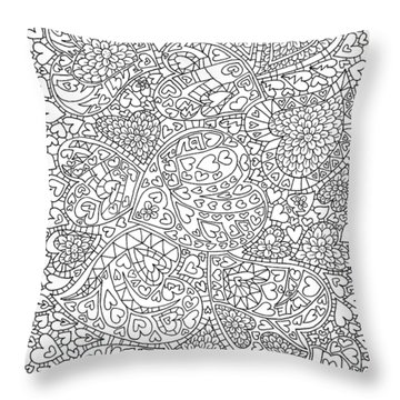 Love And Chrysanthemum Filled Hearts Vertical Throw Pillow by Tamara Kulish