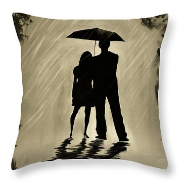 Love In The Rain D Throw Pillow by Leslie Allen