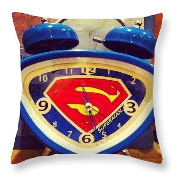 Superman Clock Throw Pillow by Joan McCool