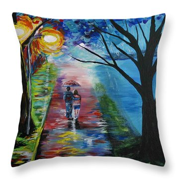 Lovely Stroll By The Lake Throw Pillow by Leslie Allen
