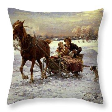 Lovers In A Sleigh Throw Pillow by Alfred von Wierusz Kowalski