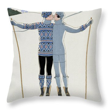 Lovers In The Snow Throw Pillow by Georges Barbier