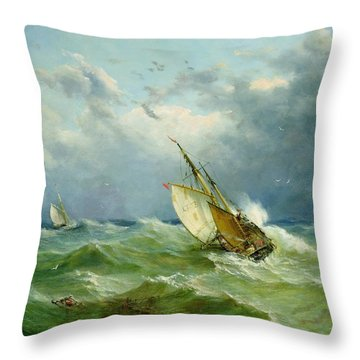 Lowestoft Trawler In Rough Weather Throw Pillow by John Moore