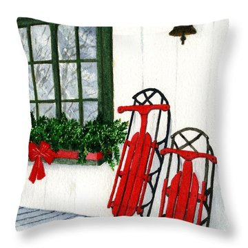 Luges De Noel Throw Pillow by Caroline Boyer