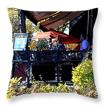 Lunch At Enzios Throw Pillow by David Kehrli
