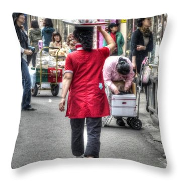 Lunch Run In Namdaemun Throw Pillow by Michael Garyet